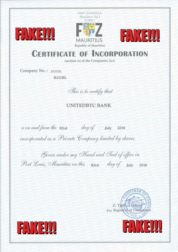 United BTC Bank мошенничество